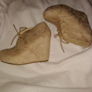 Charlotte Russe Tan Wedge Booties